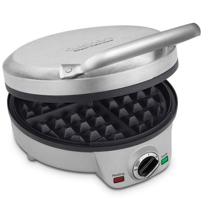 "<p><strong>Cuisinart</strong></p><p>williams-sonoma.com</p><p><strong>$59.95</strong></p><p><a href=""https://go.redirectingat.com?id=74968X1596630&url=https%3A%2F%2Fwww.williams-sonoma.com%2Fproducts%2Fcuisinart-4-slice-belgian-waffle-maker&sref=https%3A%2F%2Fwww.delish.com%2Fkitchen-tools%2Fg4445%2Fbest-waffle-iron%2F"" rel=""nofollow noopener"" target=""_blank"" data-ylk=""slk:BUY NOW"" class=""link rapid-noclick-resp"">BUY NOW</a></p><p>This model perfectly blends high quality with a compact design, excellent for those who don't have a ton of storage space. It's got a 6-setting knob to create the perfect cook every time, as well as non-stick plating that makes clean-up a breeze. Reviewers praise it for making brunch easy to execute. </p>"