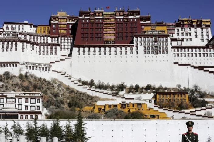 FILE PHOTO: A paramilitary policeman stands guard in front of the Potala Palace in Lhasa, Tibet Autonomous Region