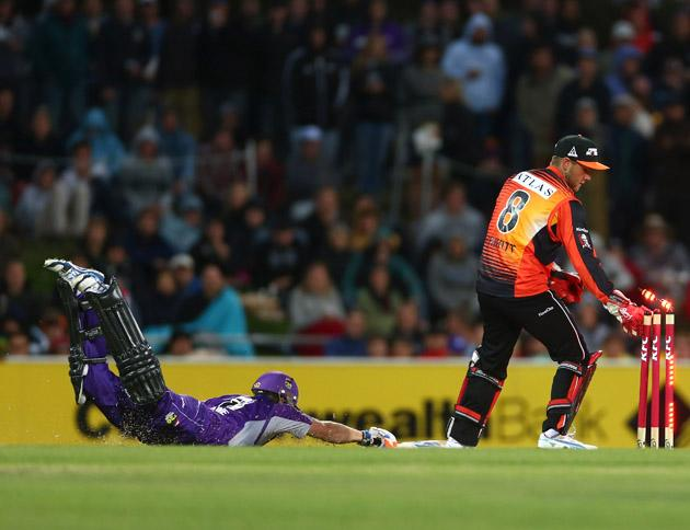 Tim Paine of the Hurricanes survis a runout attempt from Tom Triffitt of the Scorchers during the Big Bash League match between the Hobart Hurricanes and the Perth Scorchers at Blundstone Arena on January 1, 2013 in Hobart, Australia.  (Photo by Robert Cianflone/Getty Images)
