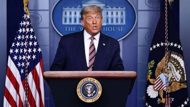PHOTO: Donald Trump speaks in the Brady Briefing Room at the White House in Washington, DC, Nov. 5, 2020. (Brendan Smialowski/AFP via Getty Images, FILE)