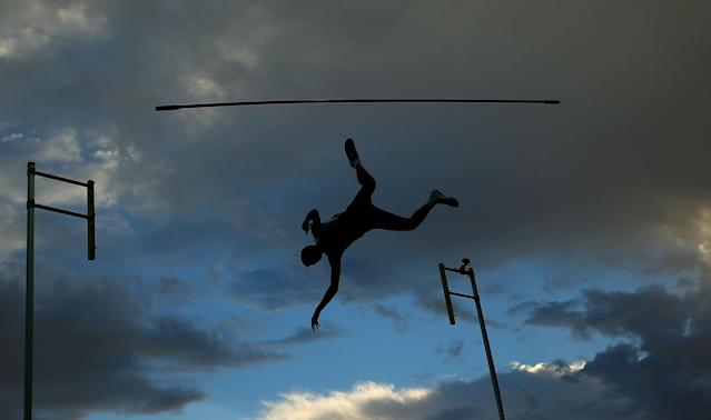 <p>Adam Hague of England knocks the bar as he competes in the Mens Pole Vault during the Melbourne Nitro Athletics Series at Lakeside Stadium </p>