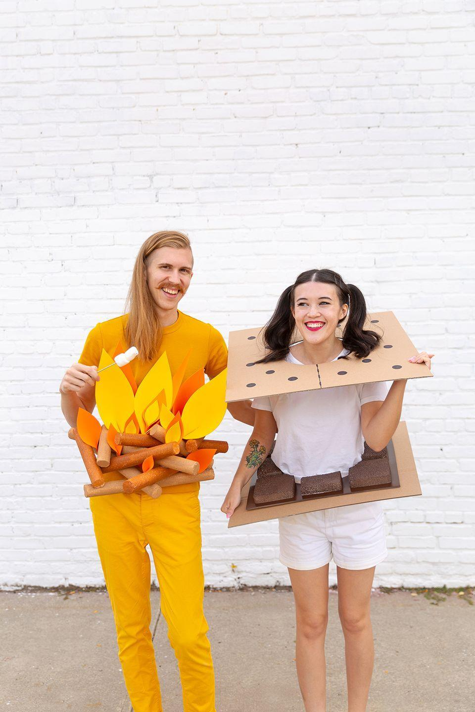 """<p>If you both love camping, or just want to be an iconic duo with your bestie, try this classic combo. </p><p><strong>Get the tutorial at <a href=""""http://www.awwsam.com/2018/10/diy-camp-couples-costumes.html"""" rel=""""nofollow noopener"""" target=""""_blank"""" data-ylk=""""slk:Aww Sam"""" class=""""link rapid-noclick-resp"""">Aww Sam</a>. </strong></p><p><strong><a class=""""link rapid-noclick-resp"""" href=""""https://www.amazon.com/Corrugated-Cardboard-Sheets-24-Pack-Inserts/dp/B079QRBBFP?tag=syn-yahoo-20&ascsubtag=%5Bartid%7C10050.g.21349110%5Bsrc%7Cyahoo-us"""" rel=""""nofollow noopener"""" target=""""_blank"""" data-ylk=""""slk:SHOP CARDBOARD"""">SHOP CARDBOARD</a><br></strong></p>"""