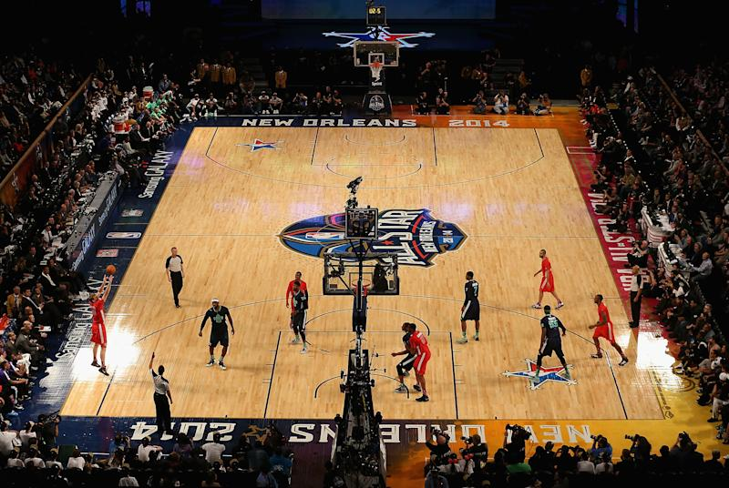 The Dallas Mavericks attempts a shot against the Eastern Conference during 2014 NBA All-Star game at the Smoothie King Center on February 16, 2014 in New Orleans, Louisiana