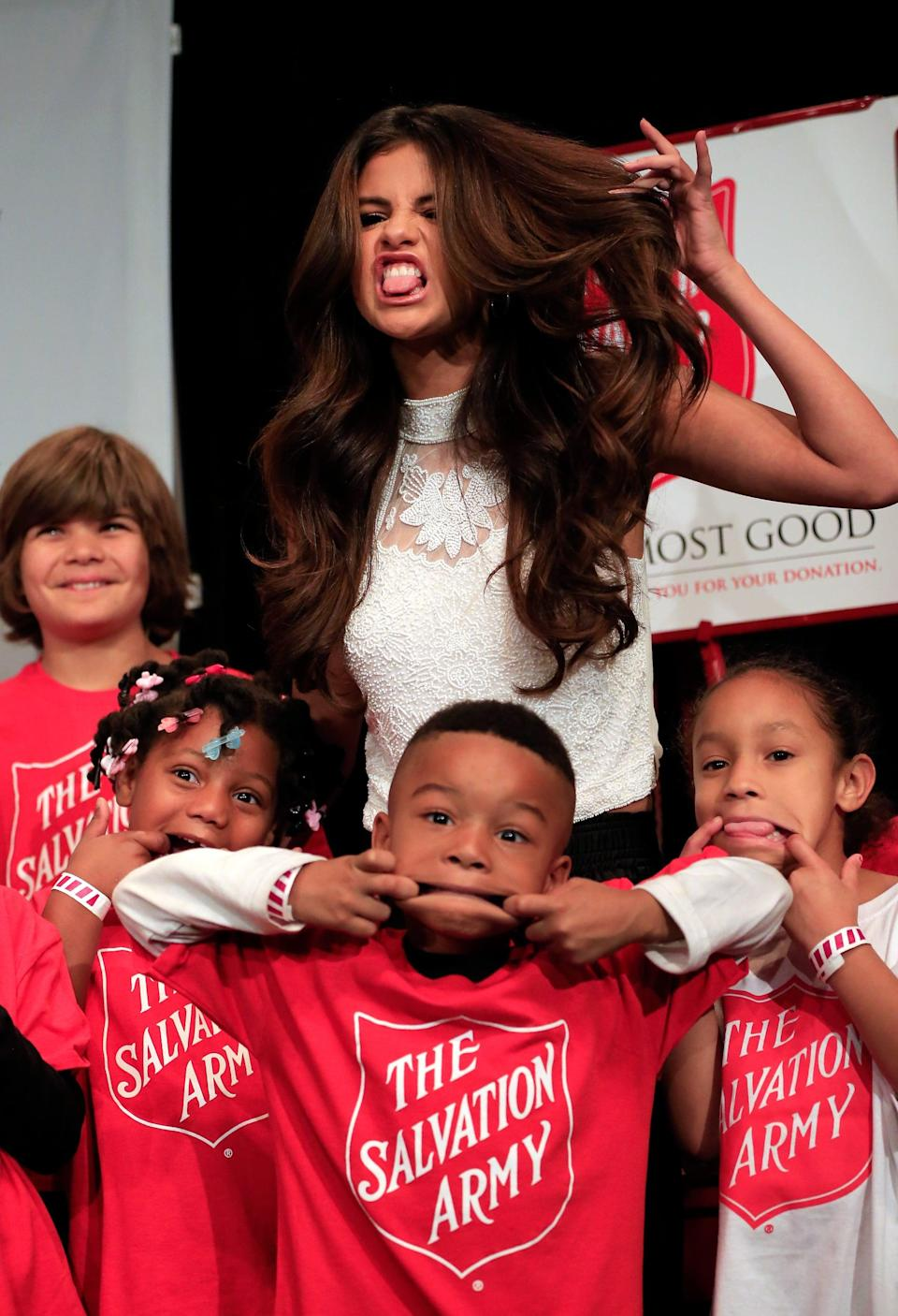 <p>She showed off her silly side with a group of kids at a Salvation Army event in Texas.</p>