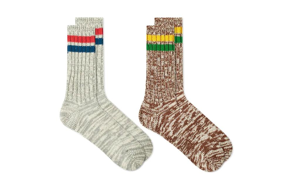 """$35, End Clothing. <a href=""""https://www.endclothing.com/us/anonymous-ism-mix-lines-crew-sock-2-pack-15194600-as.html"""" rel=""""nofollow noopener"""" target=""""_blank"""" data-ylk=""""slk:Get it now!"""" class=""""link rapid-noclick-resp"""">Get it now!</a>"""