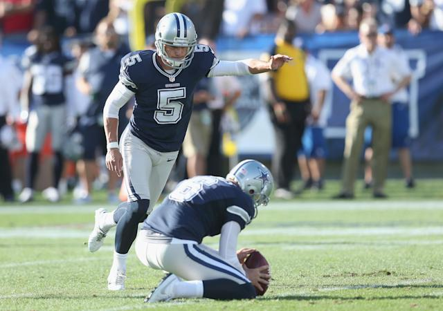 "The <a class=""link rapid-noclick-resp"" href=""/nfl/teams/dal"" data-ylk=""slk:Dallas Cowboys"">Dallas Cowboys</a> cut veteran kicker <a class=""link rapid-noclick-resp"" href=""/nfl/players/25427/"" data-ylk=""slk:Dan Bailey"">Dan Bailey</a> on Saturday afternoon and will move forward with <a class=""link rapid-noclick-resp"" href=""/nfl/players/27369/"" data-ylk=""slk:Brett Maher"">Brett Maher</a>, who spent the last four seasons in the CFL. (Getty Images)"