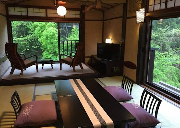 Guest rooms are cozy and bear a distinctively Japanese vibe