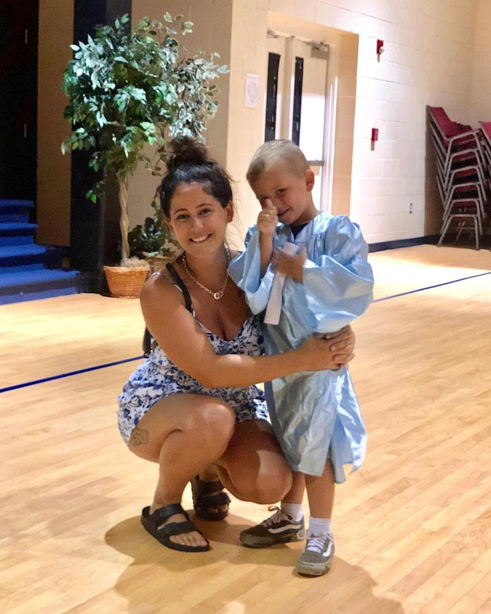 """The former <em>Teen Mom</em> star Jenelle Evans shared a celebratory Instagram photo of 5-year-old Kaiser — whom she shares with ex Nathan Griffith — giving a thumbs-up after graduating pre-school. """"You're so perfect. 🎓 #PreKGraduation #BigBoy#MommasBoy,"""" the mom of two captioned the cute photo."""