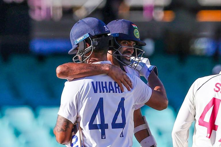 Ravichandran Ashwin embraces Hanuma Vihari after their marathon rearguard stand steered India to a draw in the third Test