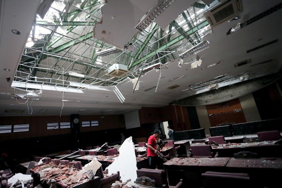 A photo shows the inside of a building following a 6.0 magnitude earthquake that hit in Blitar, East Java, Indonesia.
