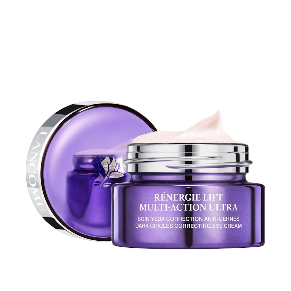 """<p>Infused with hydrating <a href=""""https://www.allure.com/story/what-is-hyaluronic-acid-skin-care?mbid=synd_yahoo_rss"""" rel=""""nofollow noopener"""" target=""""_blank"""" data-ylk=""""slk:hyaluronic acid"""" class=""""link rapid-noclick-resp"""">hyaluronic acid</a>, <a href=""""https://www.allure.com/gallery/best-coffee-beauty-products?mbid=synd_yahoo_rss"""" rel=""""nofollow noopener"""" target=""""_blank"""" data-ylk=""""slk:brightening caffeine"""" class=""""link rapid-noclick-resp"""">brightening caffeine</a>, and moisturizing cocoa seed butter, Lancôme Rénergie Lift Multi-Action Ultra Dark Circles Correcting Eye Cream melts onto the skin, making the undereye area look more radiant and lifted.</p> <p><strong>$78</strong> (<a href=""""https://shop-links.co/1722284510812982140"""" rel=""""nofollow noopener"""" target=""""_blank"""" data-ylk=""""slk:Shop Now"""" class=""""link rapid-noclick-resp"""">Shop Now</a>)</p>"""
