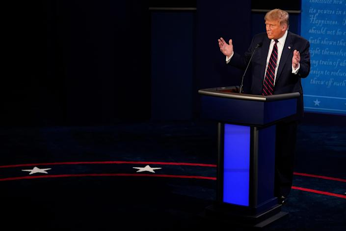 President Donald Trump speaks during the first presidential debate against Democratic presidential candidate former Vice President Joe Biden.