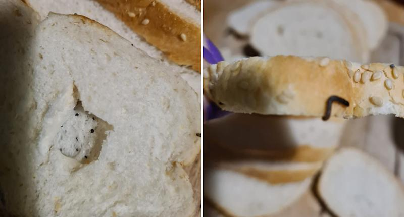 A worm is seen on a loaf of Vienna bread from Woolworths.