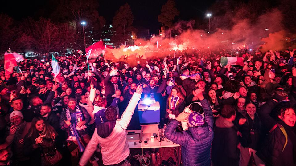 Italy fans, pictured here on Lygon Street in Carlton celebrating Italy's goal in the Euro 2020 final.