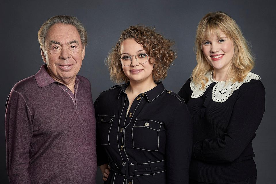 The team behind Cinderella: Andrew Lloyd Webber, Carrie Hope Fletcher and Emerald Fennell (Handout)