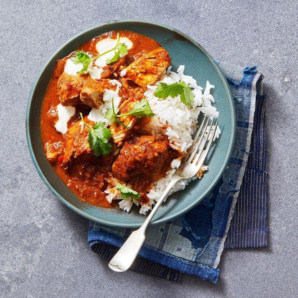 """<p>A chicken-and-rice dinner at under 250 calories?! You're looking at it. And it's ready in just 30 minutes. </p><p><a href=""""https://www.goodhousekeeping.com/food-recipes/a7386/chicken-curry/"""" rel=""""nofollow noopener"""" target=""""_blank"""" data-ylk=""""slk:Get the recipe for Traditional Chicken Curry »"""" class=""""link rapid-noclick-resp""""><em>Get the recipe for Traditional Chicken Curry »</em></a></p>"""