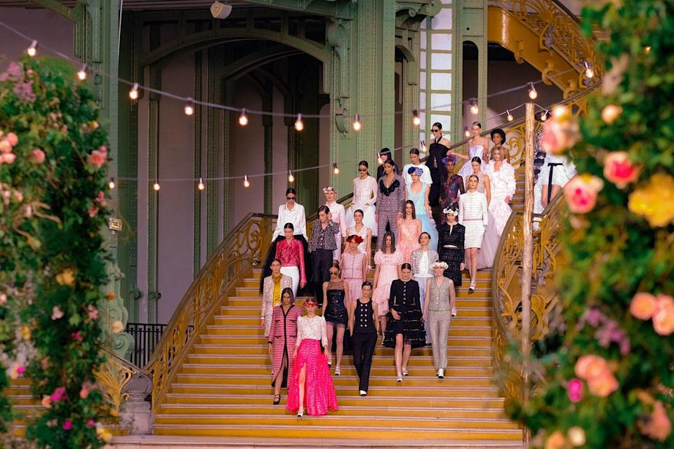 "<p>Although we weren't able to physically attend any runways this couture fashion week, Virginie Viard made sure audiences were able to appreciate the magic of a couture runway. Romance was ever-present throughout this collection right from the very first vivid pink gown that opened the show, which was paired with a classic Chanel tweed – a lesson in Parisienne perfection. </p><p>And how could we not appreciate the magic of a bride riding onto the runway atop a white horse? Moments such as this are a testament to the magical potential of couture.<br></p><p>See the full collection <a href=""https://www.chanel.com/en_GB/fashion/haute-couture.html"" rel=""nofollow noopener"" target=""_blank"" data-ylk=""slk:here"" class=""link rapid-noclick-resp"">here</a>.</p>"