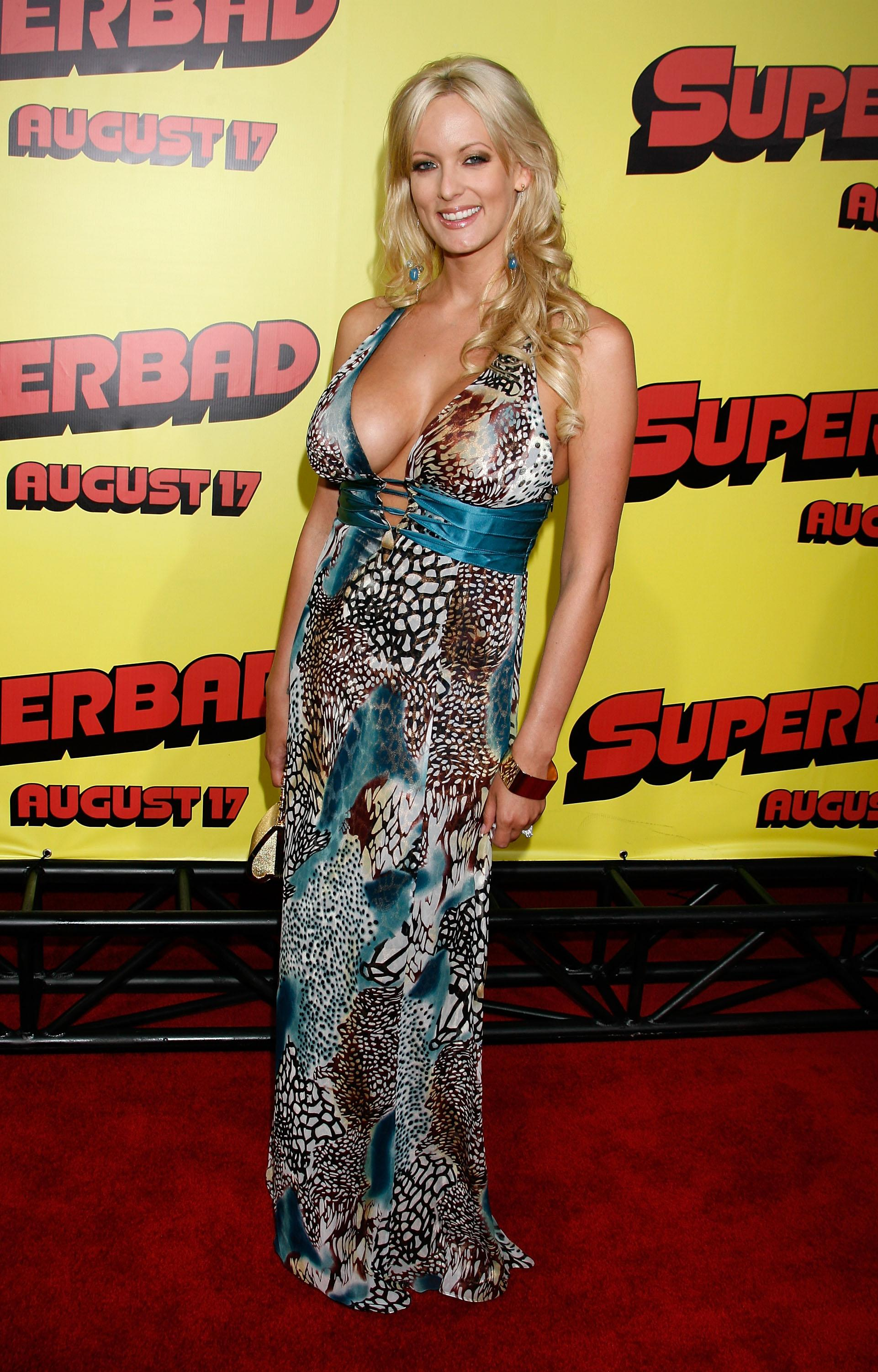 HOLLYWOOD - AUGUST 13: Actress Stormy Daniels attends the premiere of Superbad at Grauman's Chinese Theatre on August 13, 2007 in Hollywood, California. (Photo by Jeffrey Mayer/WireImage) *** Local Caption ***