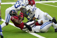 Houston Texans running back David Johnson (31) scores a touchdown against the Indianapolis Colts during the first half of an NFL football game Sunday, Dec. 6, 2020, in Houston. (AP Photo/David J. Phillip)