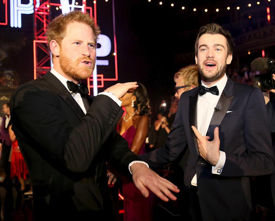 Jack Whitehall and Prince Harry at the 2015 Royal Variety Performance. <em>Copyright [REX/Shutterstock]</em>
