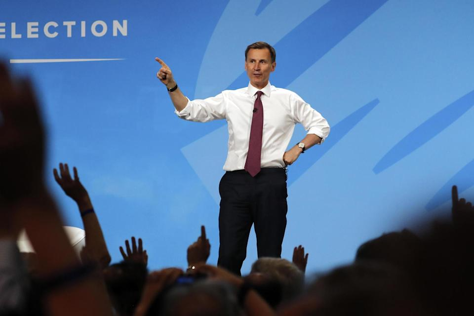 Jeremy Hunt, Mr Johnson's leadership rival, takes questions during the Conservative leadership hustings (AP)