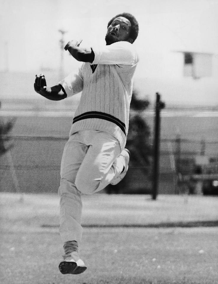 West Indies fast bowler Andy Roberts during the Second Test Match against the Autralians in Perth, 15th December 1975. (Photo by Central Press/Getty Images)