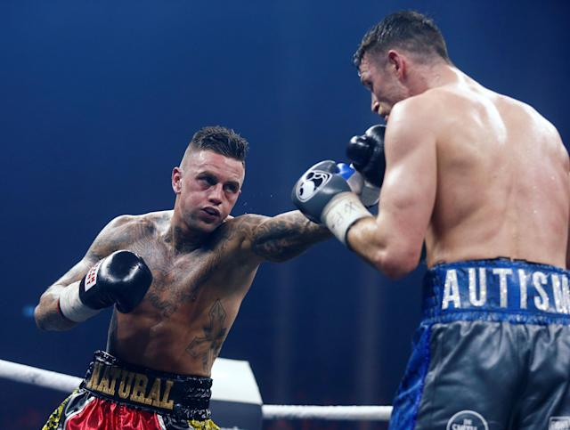 Boxing - World Boxing Super Series Semi Final - Callum Smith vs Nieky Holzken - Arena Nurnberger Versicherung, Nuremberg, Germany - February 24, 2018 Callum Smith in action with Nieky Holzken REUTERS/Ralph Orlowski