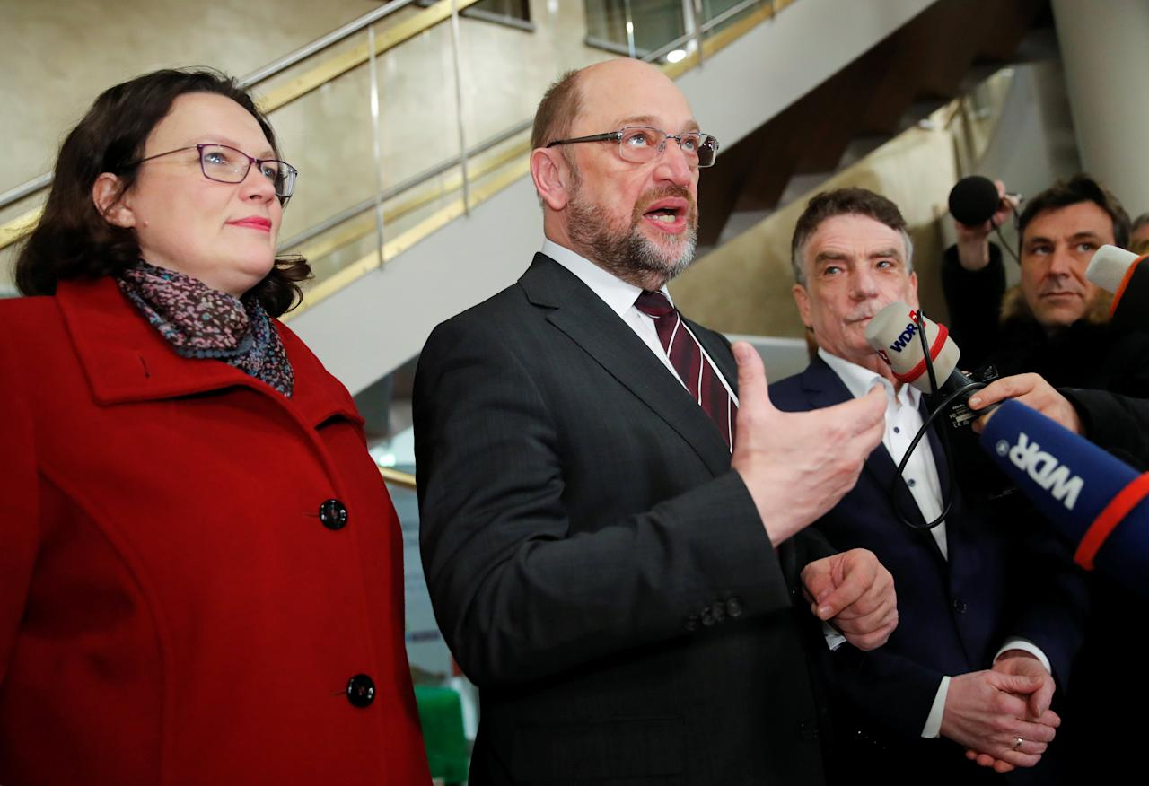 Martin Schulz, Germany's Social Democratic Party (SPD) leader, and Andrea Nahles of SPD give a statement as they meet with local SPD members in Dortmund, Germany, January 15, 2018. REUTERS/Wolfgang Rattay