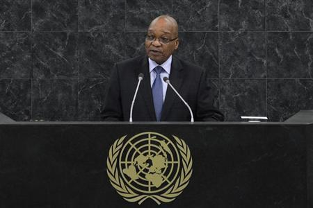 Jacob Zuma, President of the Republic of South Africa addresses the 68th United Nations General Assembly at UN headquarters in New York