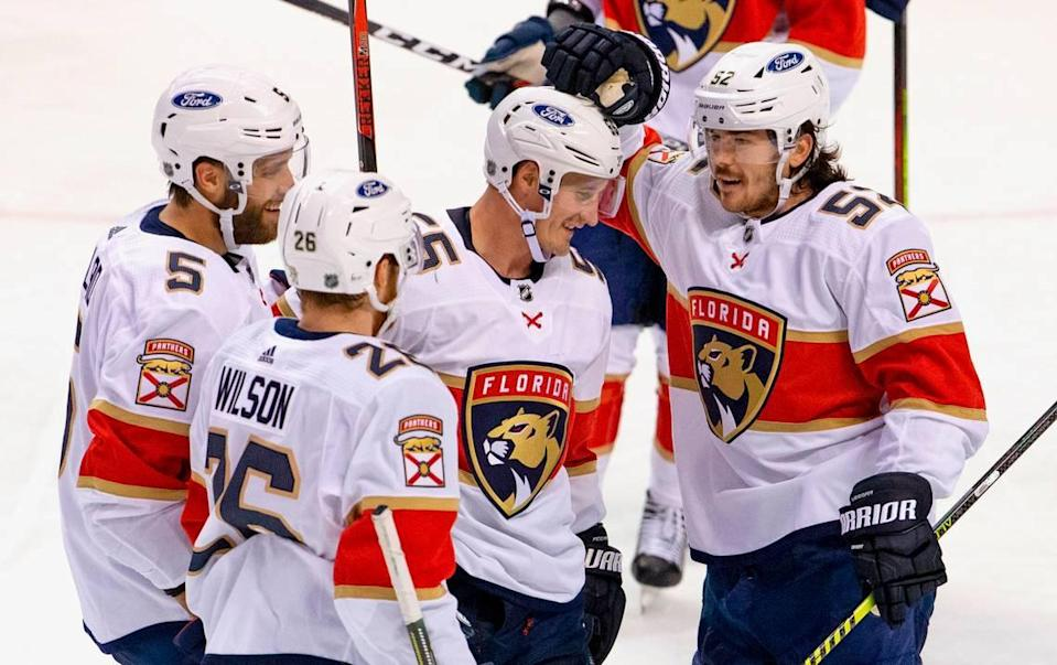 Florida Panthers center Noel Acciari (55) is congratulated by teammates after scoring during the second period of the first training camp scrimmage in preparation for the 2021 NHL season at the BB&T Center on Thursday, January 7, 2021 in Sunrise.