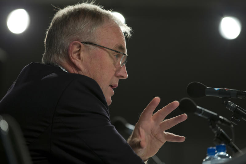 UCI president Pat McQuaid answers questions during a press conference at the World Championship Cycling in Valkenburg, southern Netherlands, Saturday Sept. 22, 2012. (AP Photo/Peter Dejong)
