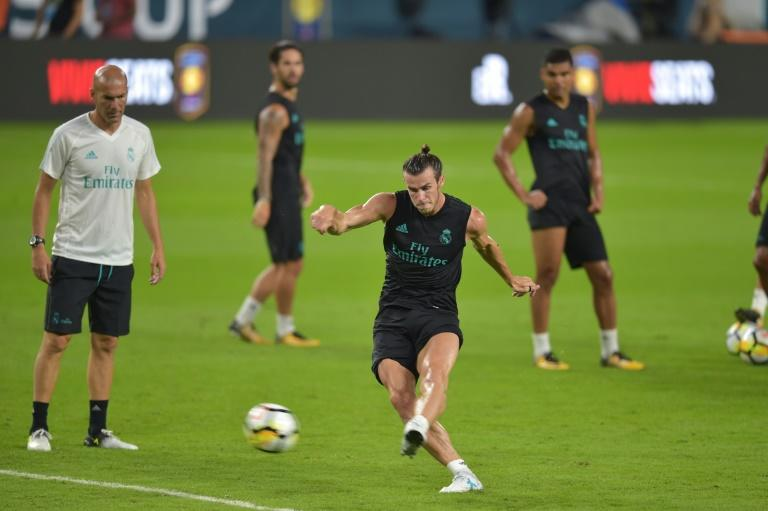Real Madrid's Gareth Bale takes part in a training session with teammates at Hard Rock Stadium in Miami, Florida, on July 28, 2017