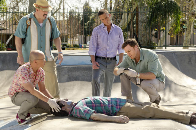 "David Zayas as Angel Batista, Desmond Harrington as Joey Quinn, C.S. Lee as Vince Masuka, and Michael C. Hall as Dexter Morgan in the ""Dexter"" Season 8 episode, ""Every Silver Lining."""