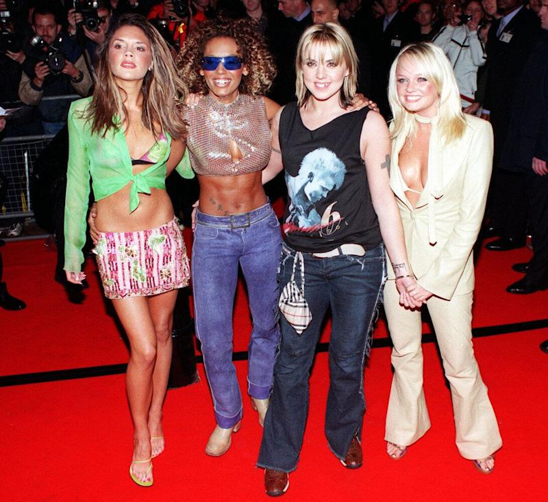 <strong>2000</strong> The Spice Girls at the launch of their new album <em>Viva Forever</em>