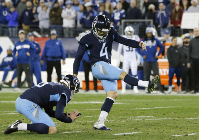 FILE - In this Sunday, Dec. 30, 2018 file photo, Tennessee Titans kicker Ryan Succop (4) kicks a 38-yard field goal against the Indianapolis Colts in the first half of an NFL football game in Nashville, Tenn. The Titans already have missed eight field goals through 10 games, matching their worst seasons of 2001 and 2004. Its why they rank dead last in the NFL converting just 46.7 percent (7 of 15).(AP Photo/James Kenney, File)