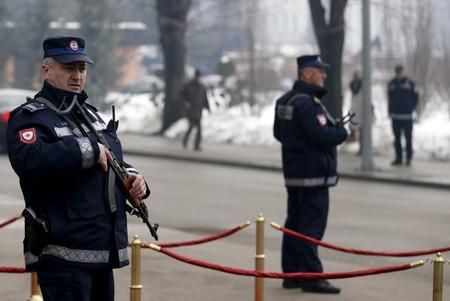 FILE PHOTO: Serb police officers stand watch in Banja Luka in the Serb Republic part of Bosnia