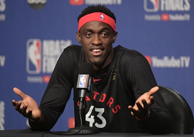 May 29, 2019; Toronto, Ontario, CAN; Toronto Raptors forward Pascal Siamkam (43) answers question during a media conference on Media Day for the NBA Finals at Scotiabank Arena. Mandatory Credit: Dan Hamilton-USA TODAY Sports