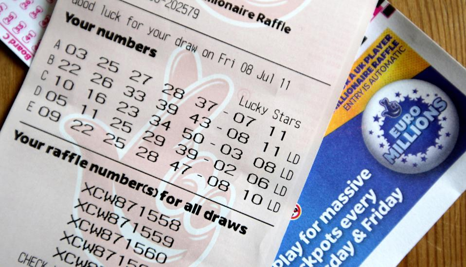 A general view of a EuroMillions lottery ticket for tonight's draw.   (Photo by Dave Thompson/PA Images via Getty Images)