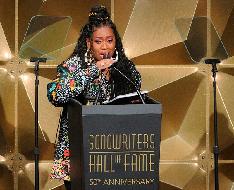 Missy Elliott speaks at the 50th annual Songwriters Hall of Fame induction and awards ceremony at the New York Marriott Marquis Hotel on Thursday, June 13, 2019, in New York. (Photo by Brad Barket/Invision/AP) ORG XMIT: NYBB231