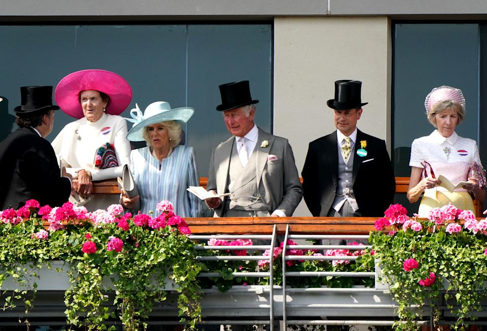 The Prince of Wales, the Duchess of Cornwall and the Earl of Wessex ahead of the St James's Palace Stakes during day one of Royal Ascot at Ascot Racecourse. Picture date: Tuesday June 15, 2021.