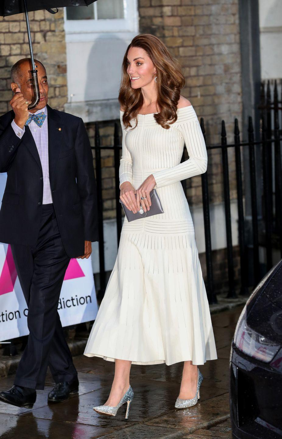 <p>One of her most daring looks to date, Kate recycled this off-the-shoulder Barbara Casasola gown to attend an Addiction Awareness Week Gala at Somerset House. </p>