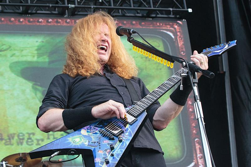SAN ANTONIO, TX - MAY 29: Dave Mustaine of the band Megadeth performed onstage during River City Rockfest at AT&T Center on May 29, 2016 in San Antonio, Texas. (Photo by Suzanne Cordeiro#476897#51B ED/FilmMagic)