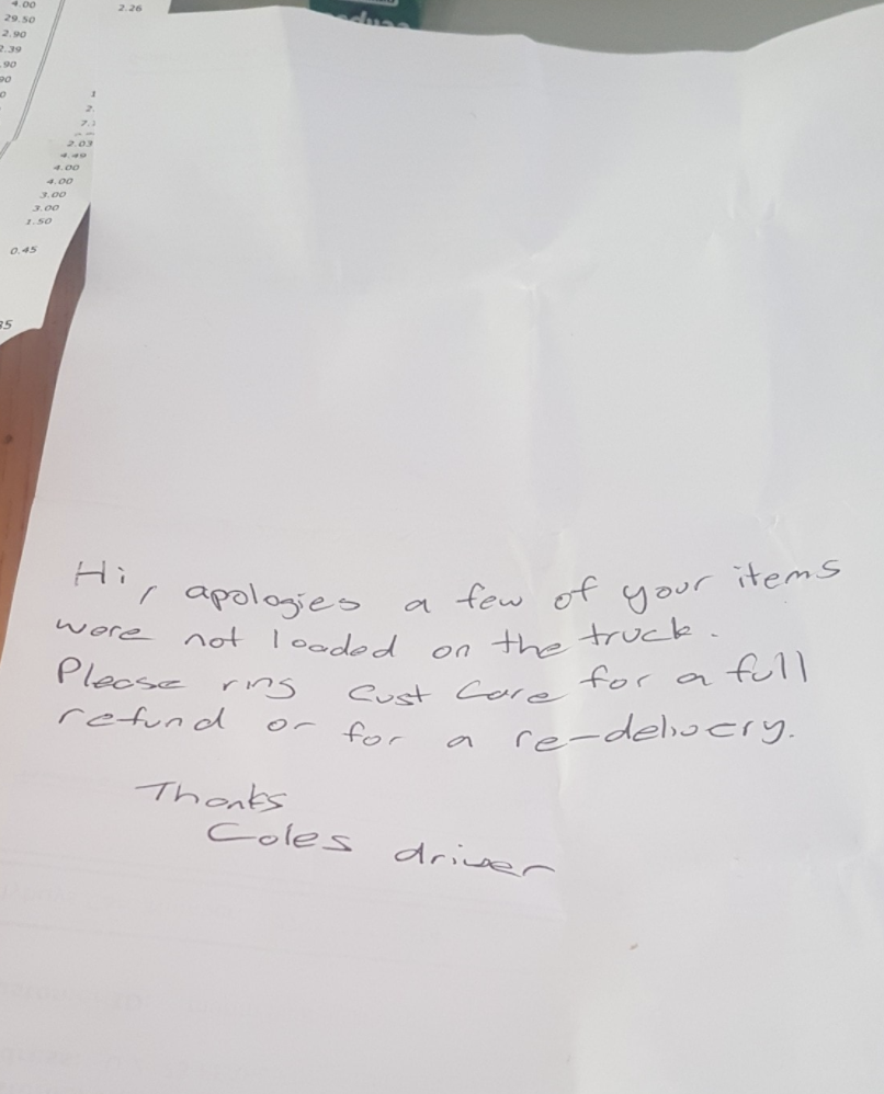 "Note left with the groceries of an ""unimpressed"" customer."