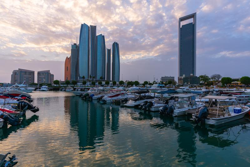 FILE PHOTO: The general view of Abu Dhabi city at sunset on April 26, 2018 in Abu Dhabi, United Arab Emirates. (Photo by Rustam Azmi/Getty Images)