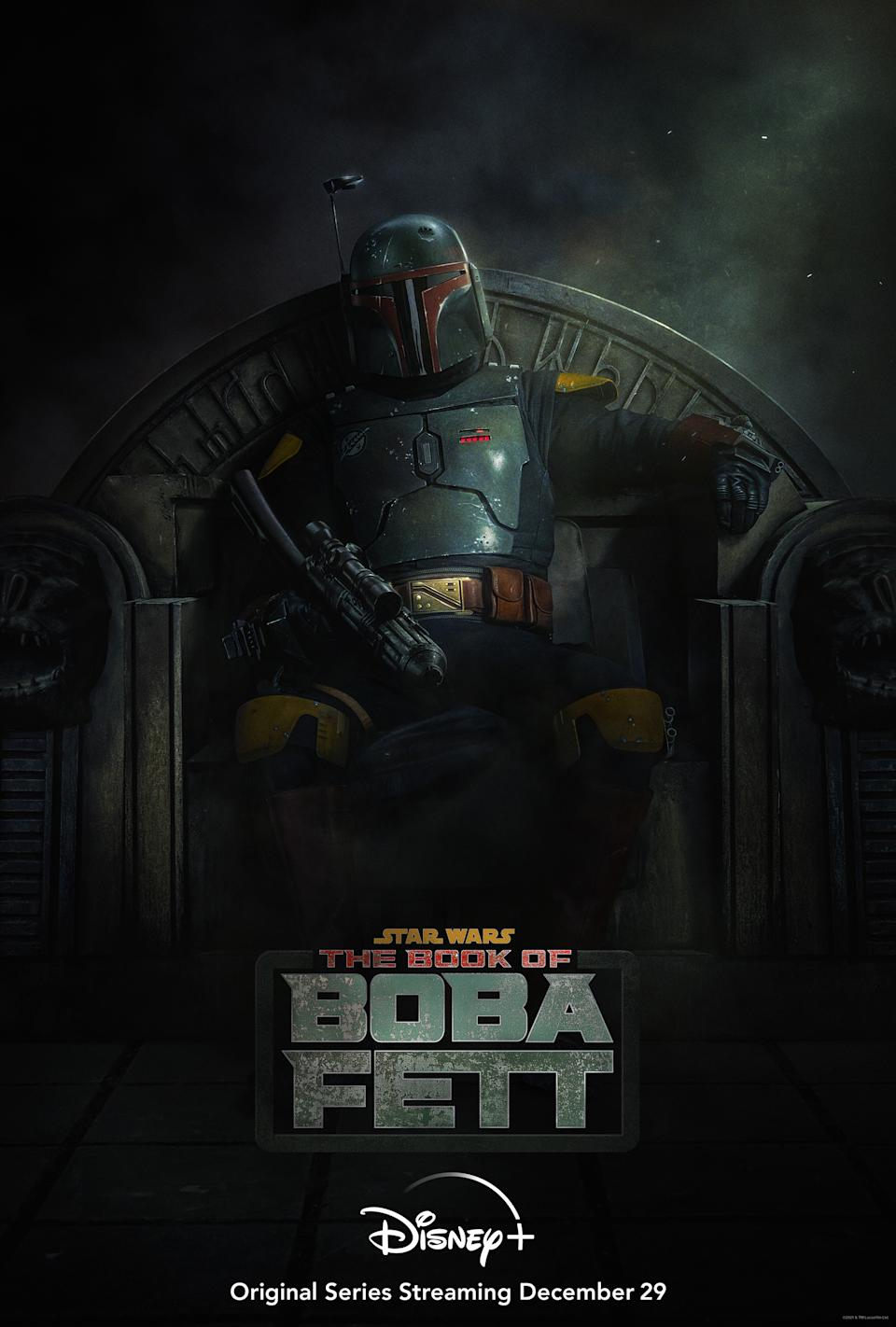 """""""The Book of Boba Fett""""—the new Lucasfilm series teased in a surprise end-credit sequence following the Season 2 finale of """"The Mandalorian""""—will premiere on Wednesday, December 29, exclusively on the streaming service Disney+. (Image: Disney+)"""