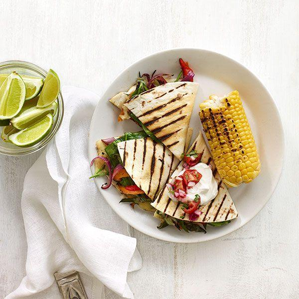 """<p>These cheesy meat-free quesadillas pack a ton of flavor thanks to the poblano peppers.</p><p><strong><a href=""""https://www.countryliving.com/food-drinks/recipes/a34874/grilled-spinach-poblano-quesadillas-recipe-wdy0814/"""" rel=""""nofollow noopener"""" target=""""_blank"""" data-ylk=""""slk:Get the recipe"""" class=""""link rapid-noclick-resp"""">Get the recipe</a>.</strong></p><p><strong><a class=""""link rapid-noclick-resp"""" href=""""https://www.amazon.com/Lodge-Square-Pre-seasoned-Draining-Grilling/dp/B0000CF66W/?tag=syn-yahoo-20&ascsubtag=%5Bartid%7C10050.g.32969162%5Bsrc%7Cyahoo-us"""" rel=""""nofollow noopener"""" target=""""_blank"""" data-ylk=""""slk:SHOP GRILL PANS"""">SHOP GRILL PANS</a><br></strong></p>"""