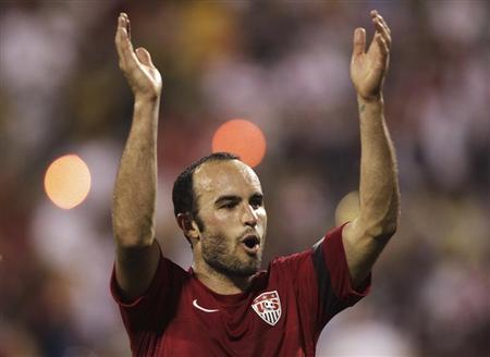 United States' Landon Donovan celebrates after their 2-0 victory over Mexico in their FIFA World Cup qualifying soccer match in Columbus, Ohio September 10, 2013. REUTERS/Matt Sullivan