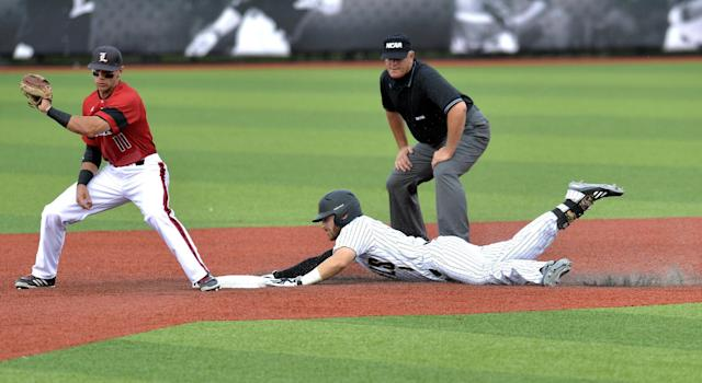 Kennesaw State's Kal Simmons, right, slides into second ahead of the throw to Louisville's Zach Lucas in the third inning of an NCAA college baseball tournament super regional game in Louisville, Ky., Saturday, June 7, 2014. (AP Photo/Timothy D. Easley)