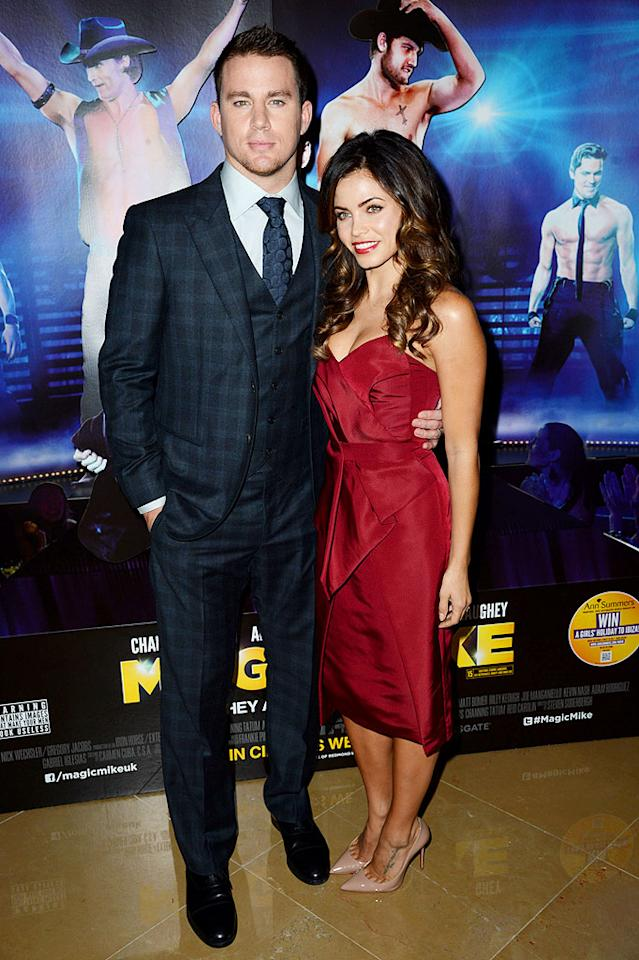 "Surprisingly, Channing Tatum's hotness didn't overshadow his gorgeous wife, Jenna Dewan, when the two arrived at the U.K. premiere of <a target=""_blank"" href=""http://movies.yahoo.com/movie/magic-mike/"">""Magic Mike""</a> on Tuesday evening. As expected, Channing suited up well (this time in tartan!), while Jenna opted for a cranberry J. Mendel dress and nude Louboutin heels. (7/10/2012)"