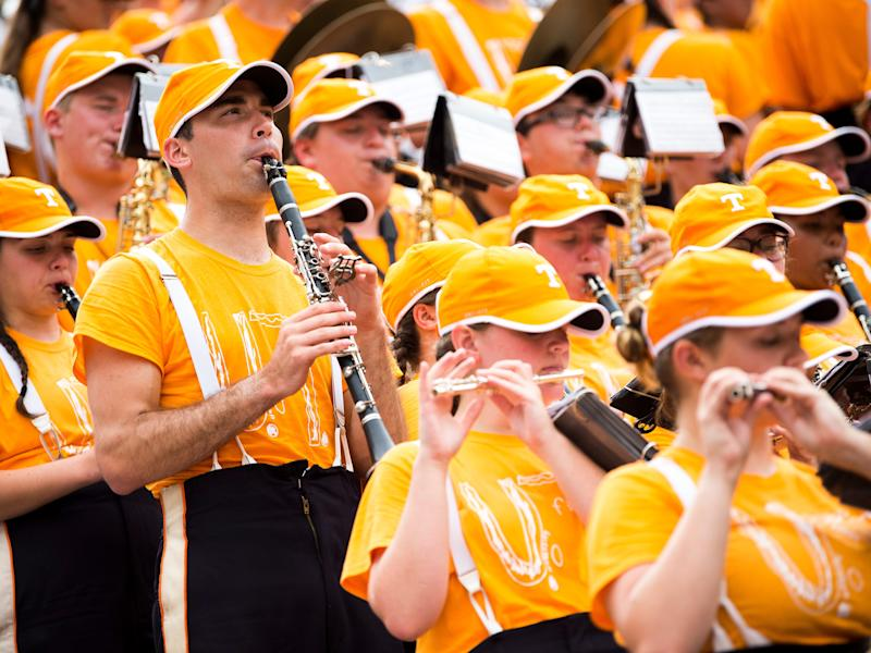 The Pride of the Southland band wears T-shirts made with a bullied child's design for Tennessee's home game against Chattanooga at Neyland Stadium in Knoxville on Saturday.